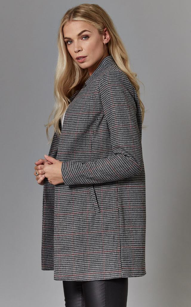 Black Check Wool Long Sleeve Coatigan by ONLY
