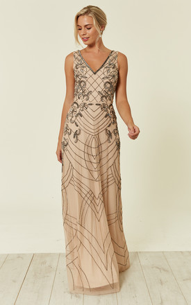 Mishan Sequin Bridesmaid Maxi Dress In Nude by Lace & Beads Product photo
