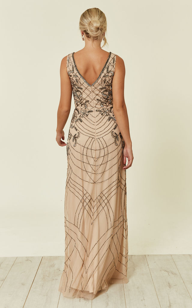 Mishan Sequin Bridesmaid Maxi Dress in Nude by Lace & Beads
