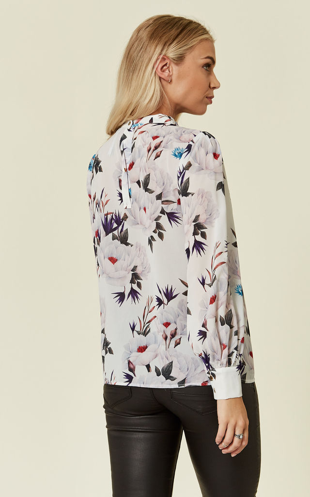 Floral Silky Blouse in Cream by ANGELEYE