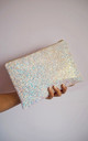 Glitter Clutch Bag in Pink Iridescent by Suki Sabur Designs