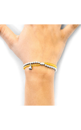 YELLOW AMBER HARMONY SILVER AND STONE BRACELET by ANCHOR & CREW