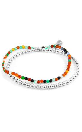 MULTICOLOURED AGATE HARMONY SILVER AND STONE BRACELET by ANCHOR & CREW