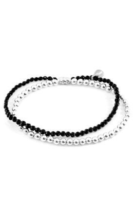 BLACK SPINEL HARMONY SILVER AND STONE BRACELET by ANCHOR & CREW