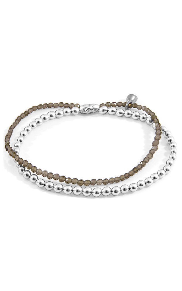 GREY SMOKEY QUARTZ HARMONY SILVER AND STONE BRACELET by ANCHOR & CREW