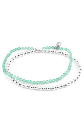 GREEN AVENTURINE HARMONY SILVER AND STONE BRACELET by ANCHOR & CREW