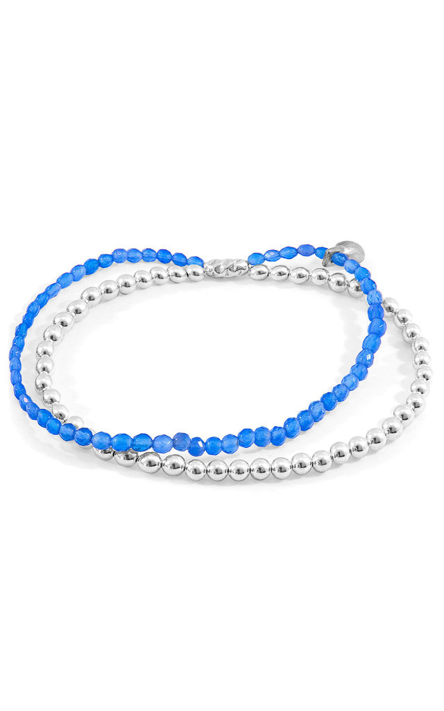 BLUE AGATE HARMONY SILVER AND STONE BRACELET by ANCHOR & CREW
