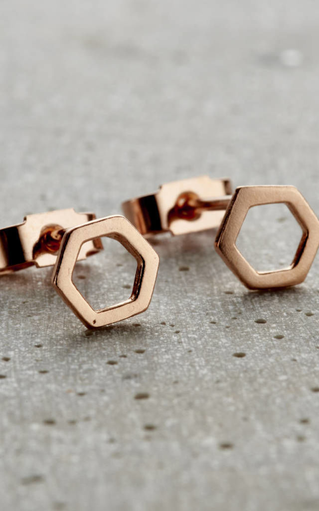 Rose Gold Fine Hexagon Stud Earrings by Posh Totty Designs