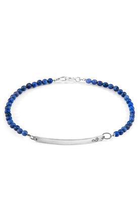 BLUE DUMORTIERITE PURITY SILVER AND STONE BRACELET by ANCHOR & CREW