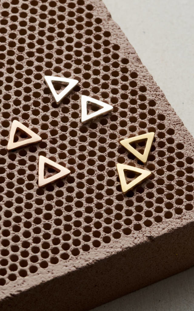 Rose Gold Fine Triangle Stud Earrings by Posh Totty Designs