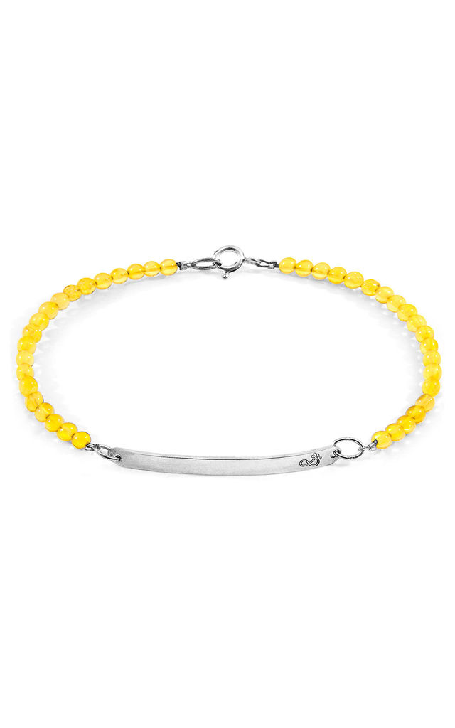 YELLOW AMBER PURITY SILVER AND STONE BRACELET by ANCHOR & CREW