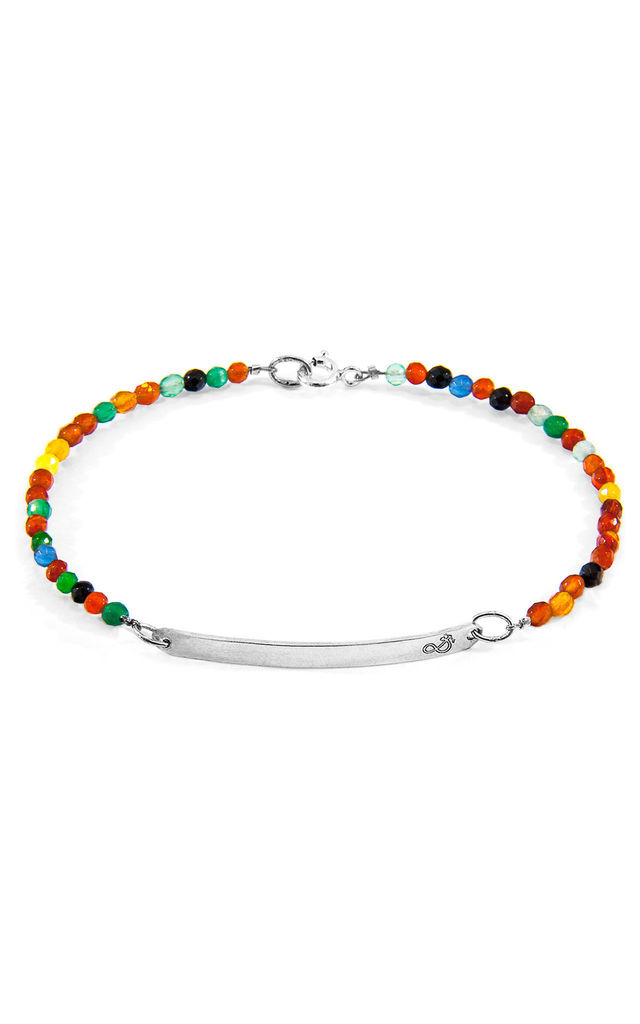 MULTICOLOURED AGATE PURITY SILVER AND STONE BRACELET by ANCHOR & CREW