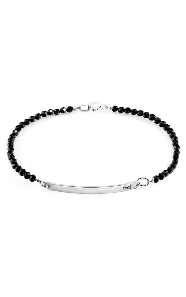 BLACK SPINEL PURITY SILVER AND STONE BRACELET by ANCHOR & CREW