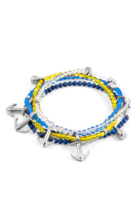 BLUE AGATE PURITY SILVER AND STONE BRACELET by ANCHOR & CREW