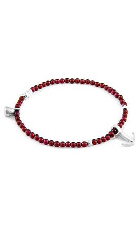 RED GARNET TROPIC SILVER AND STONE BRACELET by ANCHOR & CREW