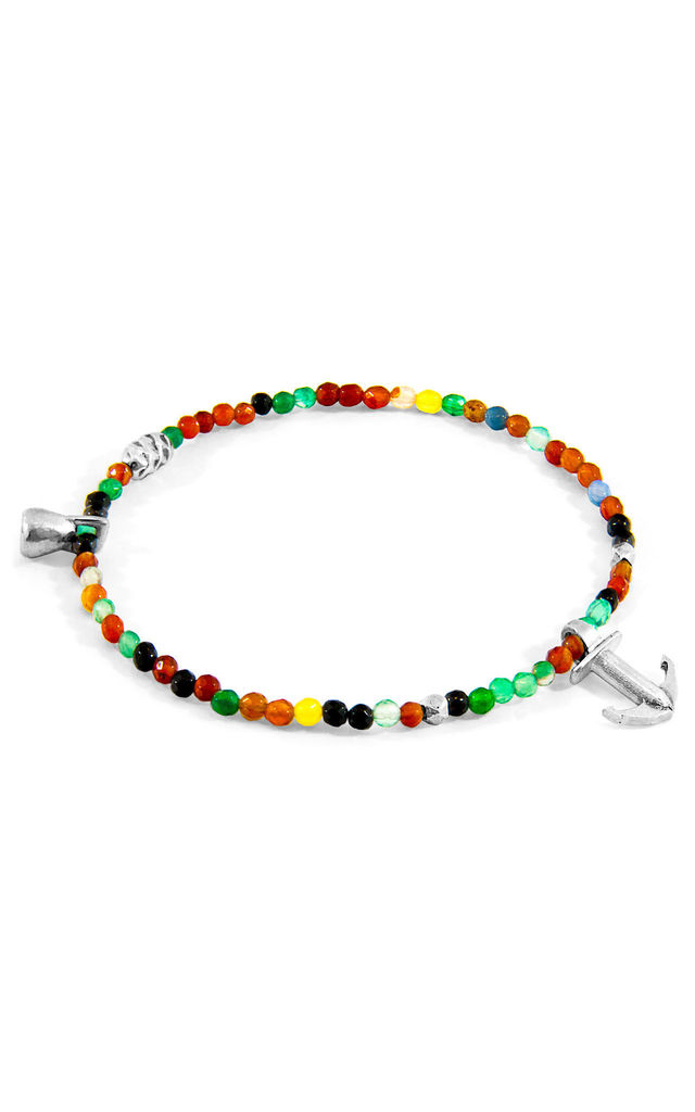 MULTICOLOURED AGATE TROPIC SILVER AND STONE BRACELET by ANCHOR & CREW