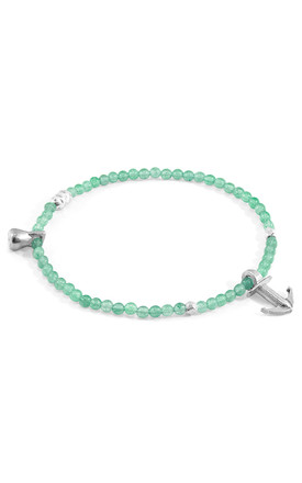 GREEN AVENTURINE TROPIC SILVER AND STONE BRACELET by ANCHOR & CREW