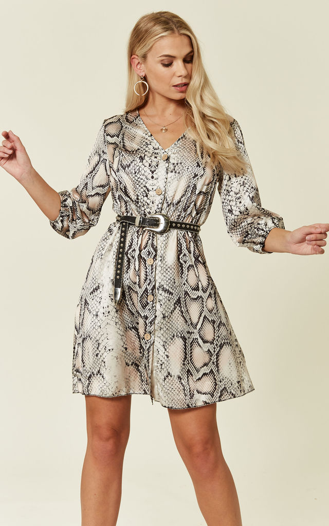 Cream Snake Skin Button Front Mini Dress by ROCK KANDY