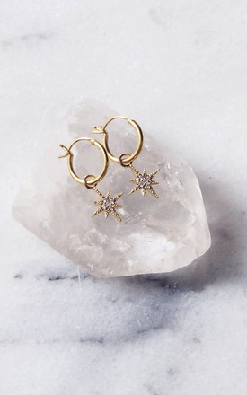 ELSA. Gold Pavé Star Hoop Earrings by Aluna Mae