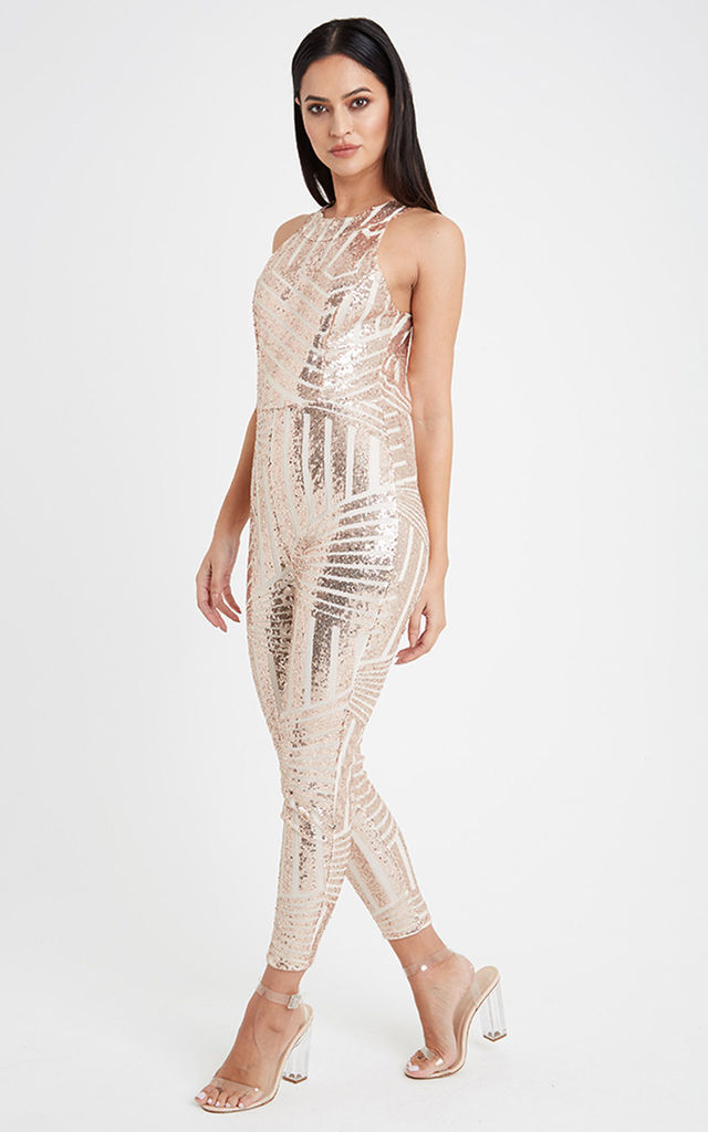 Fitted Sequin Jumpsuit - Gold by Neish Clothing