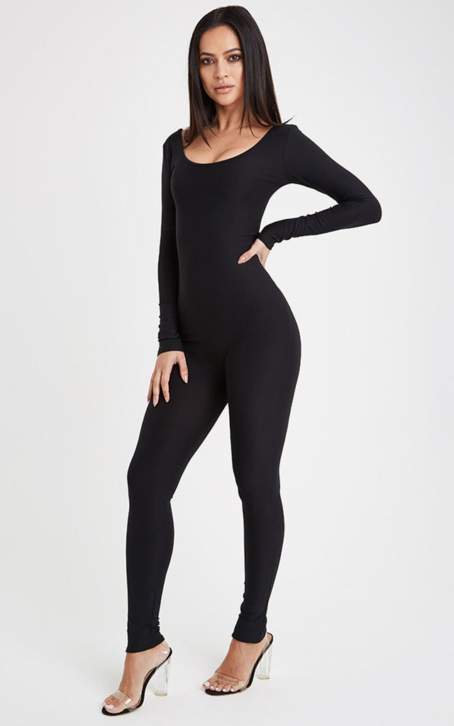 Flex Long Sleeve Fitted Jumpsuit - Black by Neish Clothing