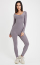 Flex Long Sleeve Fitted Jumpsuit - Grey by Neish Clothing
