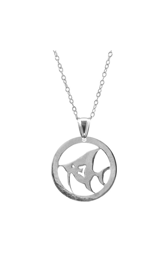 ANGEL FISH DISC PARADISE SILVER NECKLACE PENDANT by ANCHOR & CREW