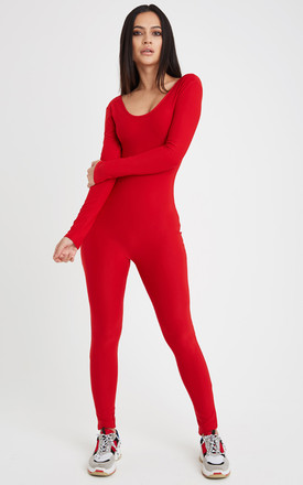 Flex Long Sleeve Fitted Jumpsuit - Red by Neish Clothing