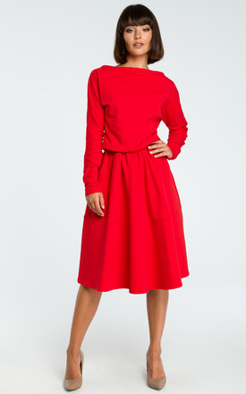 Red Long Sleeve Flared Midi Dress by MOE