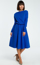 Royal Blue Long Sleeve Flared Midi Dress by MOE