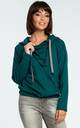 Green Hooded Sweater With Front Pleat by MOE