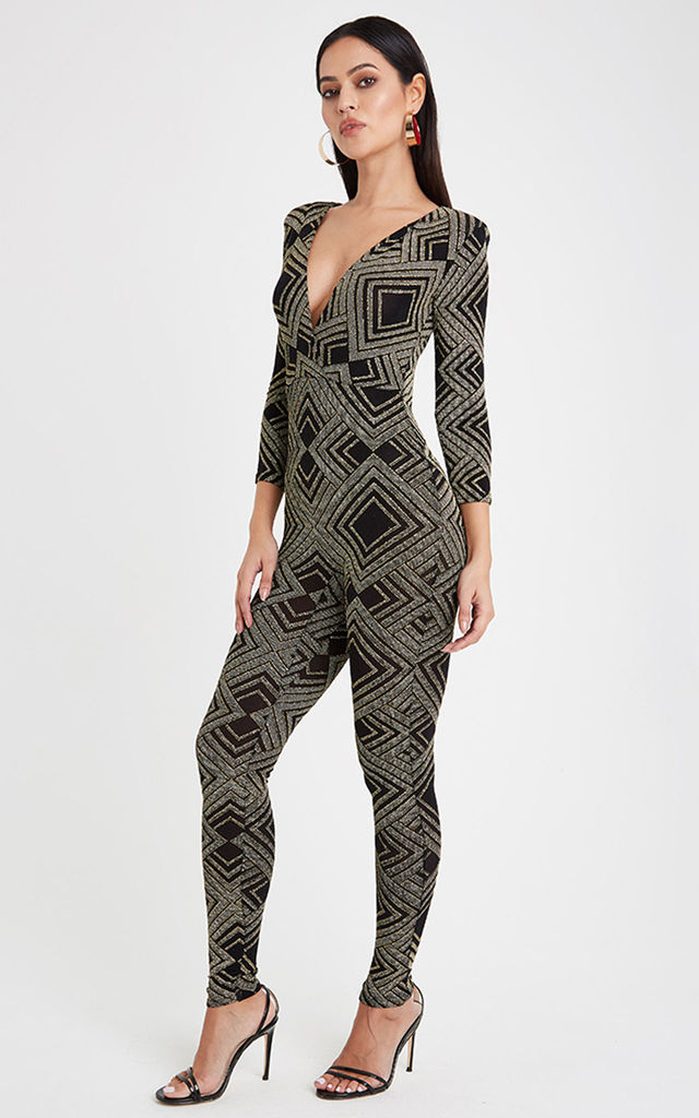 Glitz Diamond V Neck Jumpsuit - Gold by Neish Clothing