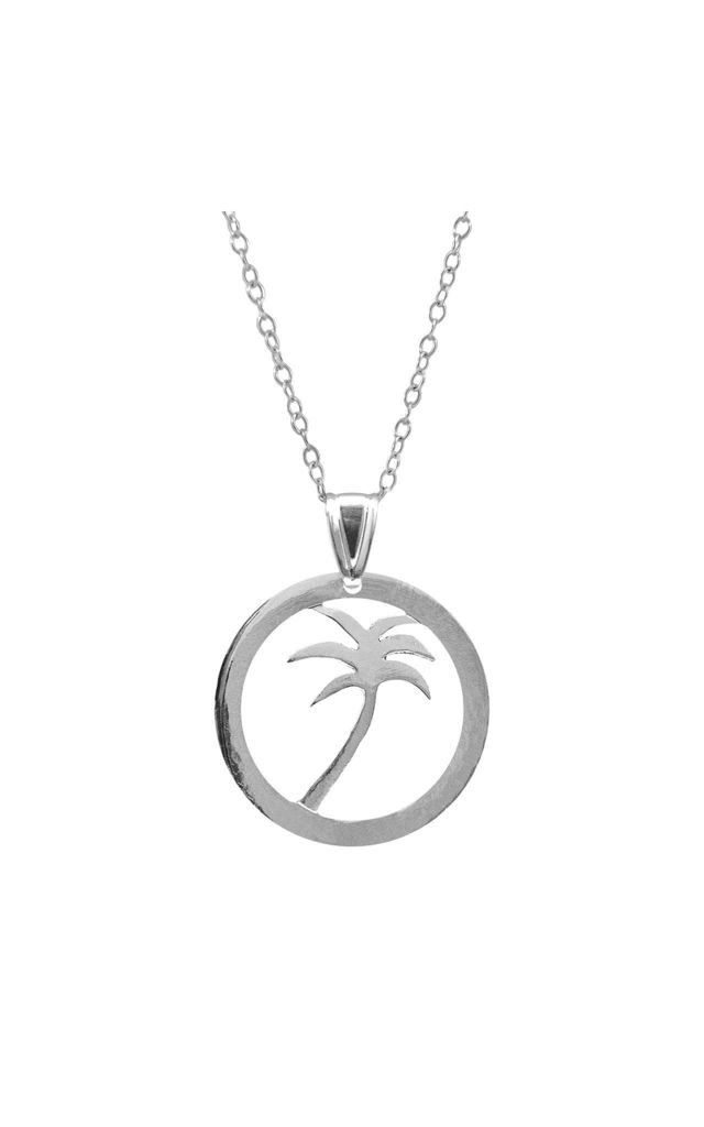 PALM TREE DISC PARADISE SILVER NECKLACE PENDANT by ANCHOR & CREW