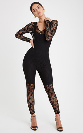 Lace Fitted Jumpsuit - Black by Neish Clothing
