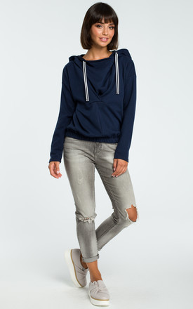 Navy Blue Hooded Sweater With Front Pleat by MOE