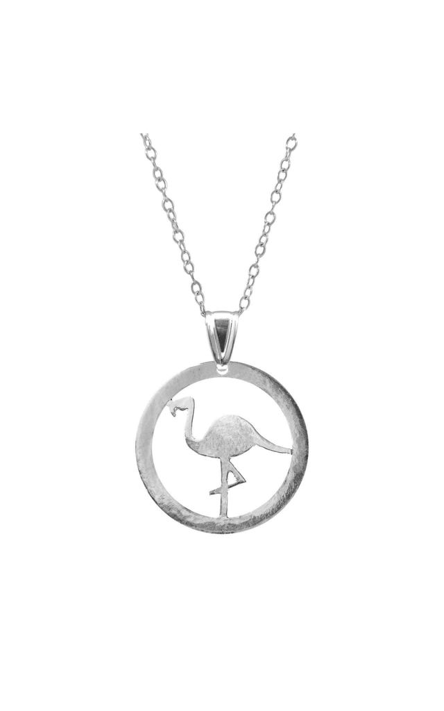 STANDING FLAMINGO DISC PARADISE SILVER NECKLACE PENDANT by ANCHOR & CREW
