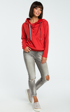Red Hooded Sweater With Front Pleat by MOE
