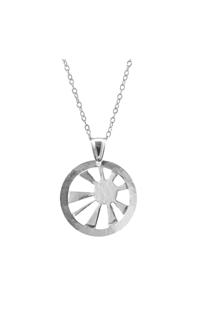 SUNRISE SUNSET DISC PARADISE SILVER NECKLACE PENDANT by ANCHOR & CREW