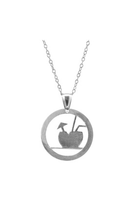 FRESH COCONUT DISC PARADISE SILVER NECKLACE PENDANT by ANCHOR & CREW