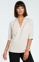 V Neck Blouse with 3/4 Sleeves in Beige by MOE