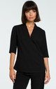 V Neck Blouse with 3/4 Sleeves in Black by MOE