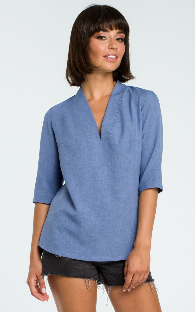 V Neck Blouse with 3/4 Sleeves in Blue by MOE