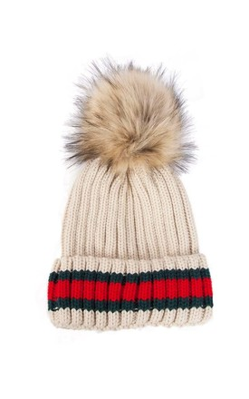 Beige Green Red Stripe Knitted Faux Fur Pom Pom Beanie Hat by Urban Mist