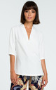 V Neck Blouse with 3/4 Sleeves in White by MOE