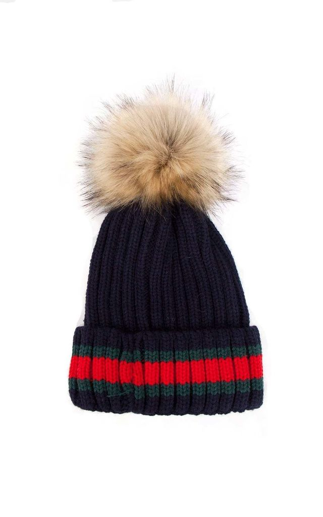 Navy Green Red Stripe Knitted Faux Fur Pom Pom Beanie Hat by Urban Mist