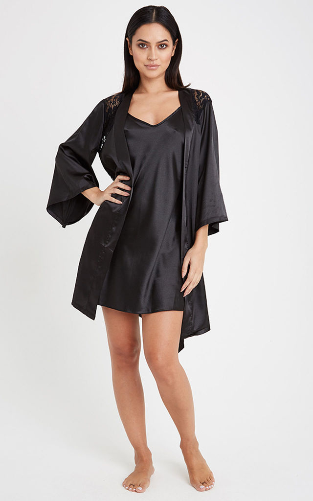 Satin Dressing Gown & Slip Dress Night Wear Set - Black by Neish Clothing