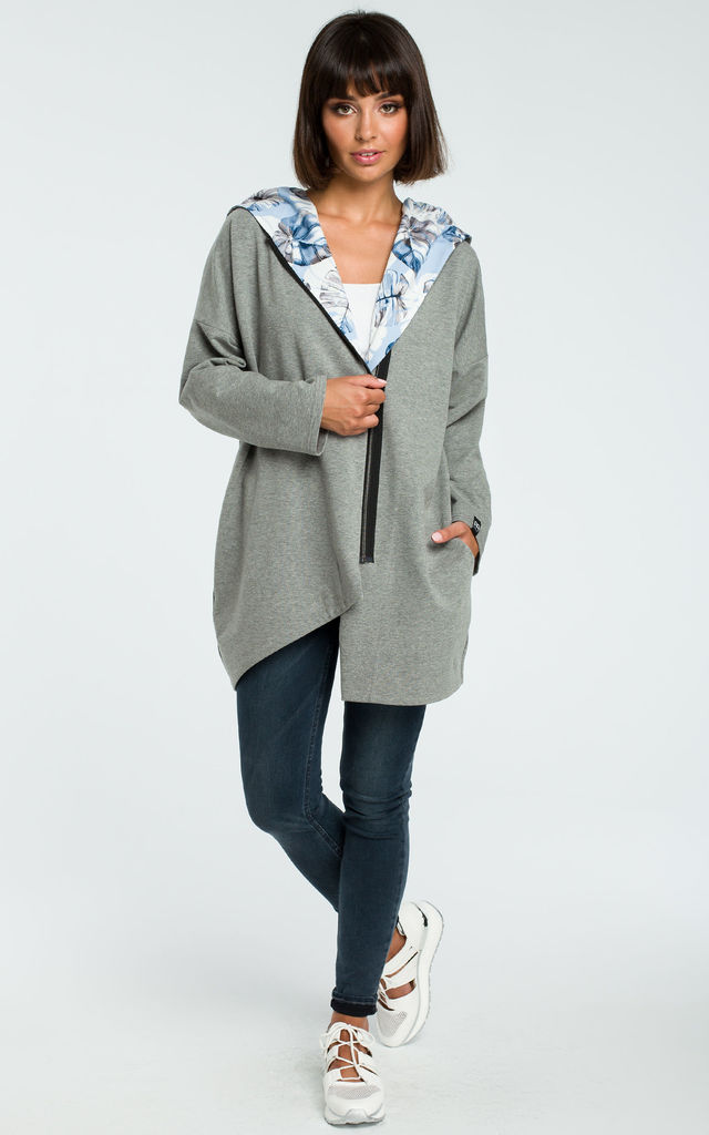 Grey Oversized Asymmetric Sweater With Multicolour Hood by MOE