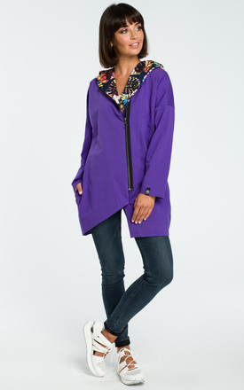 Purple Oversized Asymmetric Sweater With Multicolour Hood by MOE
