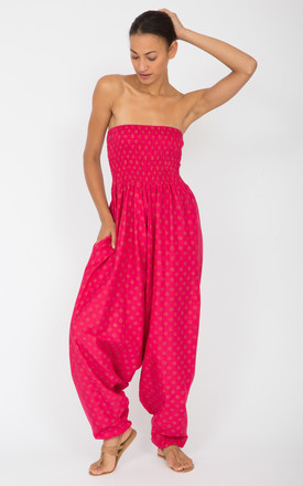 Cotton Printed Maxi 2 in 1 Harem Trouser Jumpsuit Fuchsia Fleurs by likemary