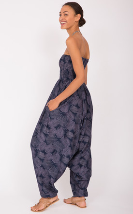 Cotton Printed Maxi 2 in 1 Harem Trouser Jumpsuit Blue Leaves by likemary